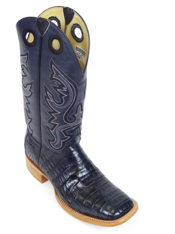 Men Boots Belly Caiman Tail Navy Blue