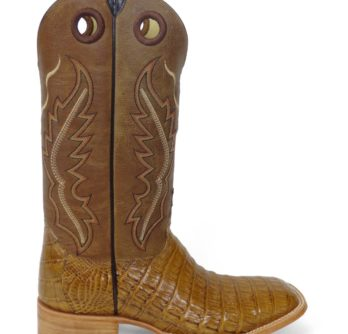 Men Boots Belly Caiman Tail Cognac Pull Up