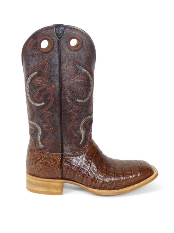 Men Boots Belly Caiman Tail Glossy Cigar Waxy