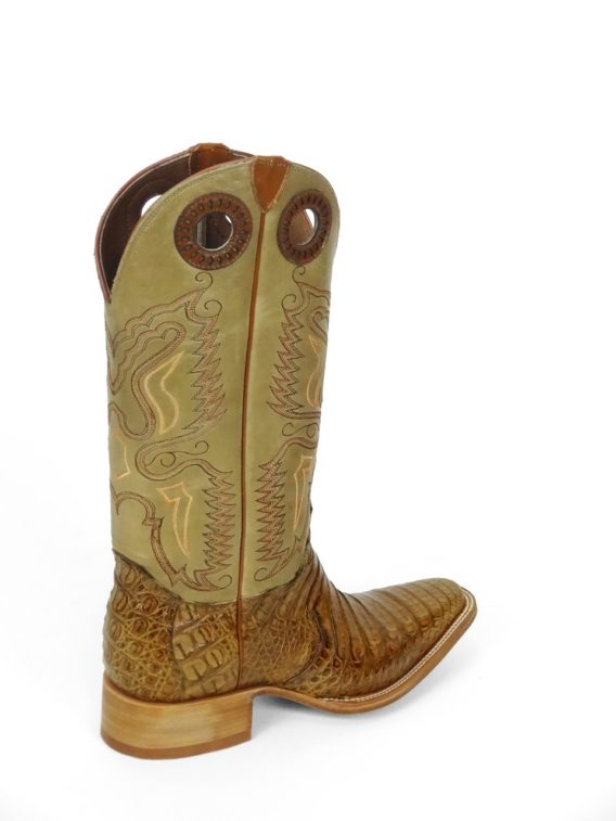 Men Boots Belly Caiman Throat Cognac Pull Up