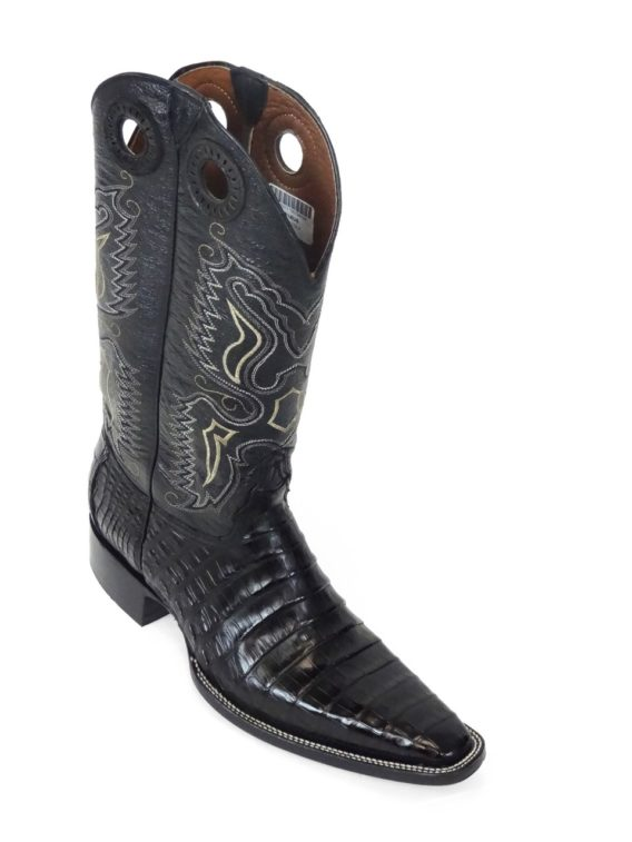 Men Boots Belly Caiman Tail Black