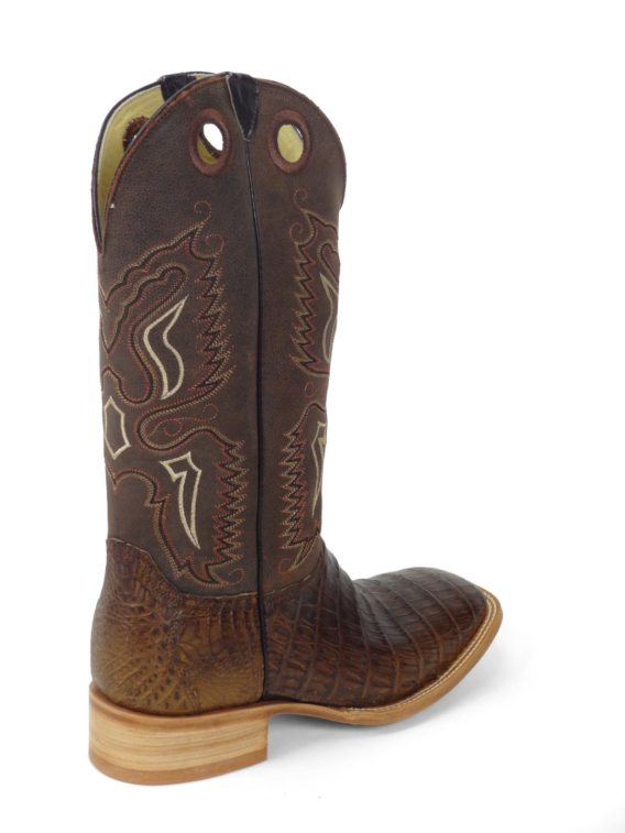 Men Boots Belly Caiman Tail Brown Oil