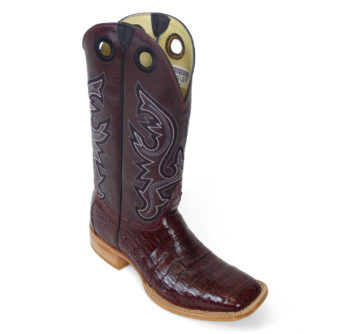 Men Boots Belly Caiman Tail Burgundy