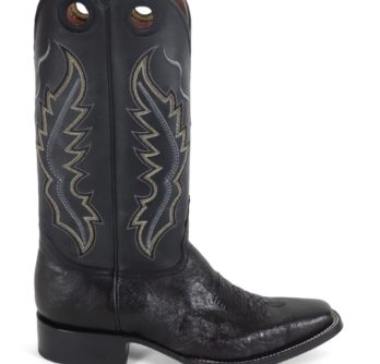 Men Boots Belly Ostrich Black