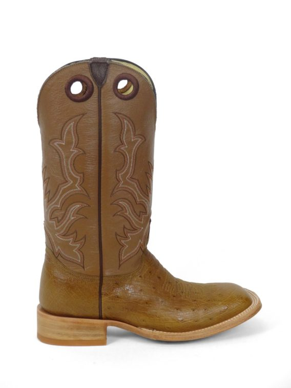 Men Boots Belly Ostrich Antique Saddle
