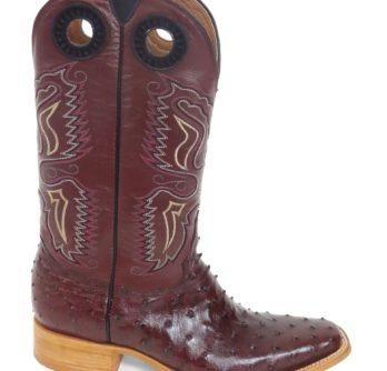 Men Boots Ostrich Burgundy