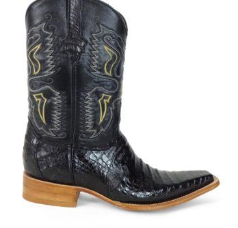 Men Boots Belly Caiman Throat Black