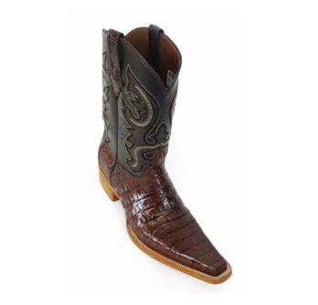 Men Boots Belly Caiman Tail Brown