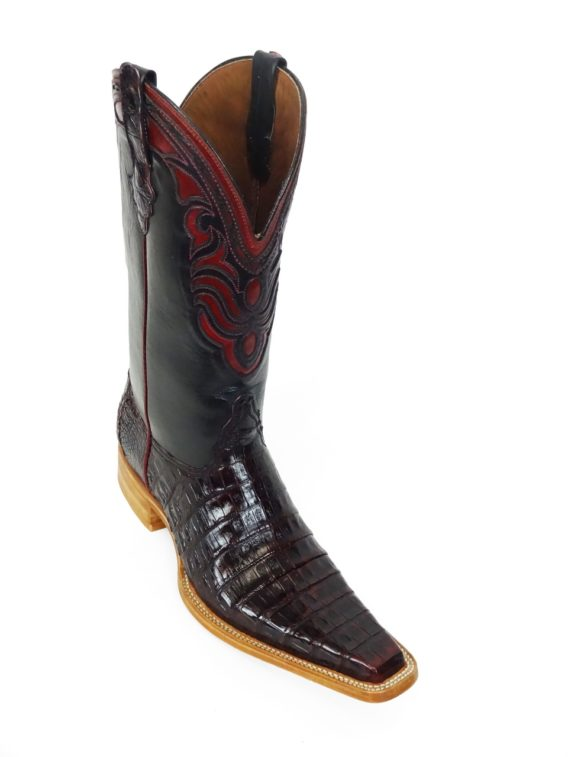 Men Boots Belly Caiman Tail Black Cherry