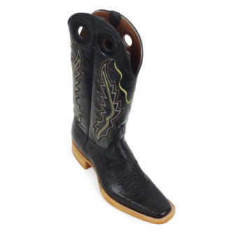 Men Boots Belly Ostrich Black