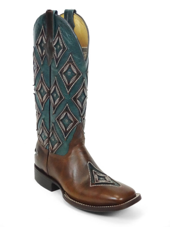 Lady Boots Cow Hide Frida Tan Rhombus