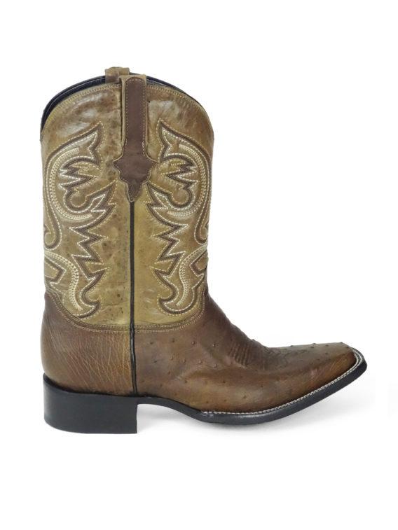 Men Boots Belly Ostrich Antique Saddle Oil