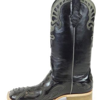 Men Boots Ostrich Black